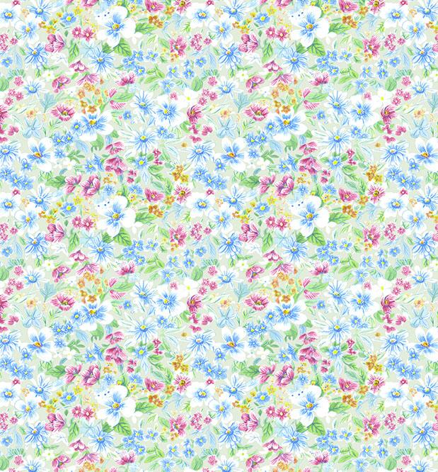 Selvklæbende folie i lyserøde og blå blomster