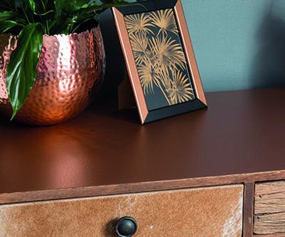 selvklæbende folie i kobber med hammereffekt, sæt det på møbler, kasser, ringbind