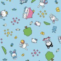 selvklæbende folie til børn med lyseblå bund og med træer, kaniner