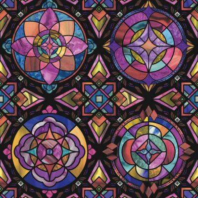 vinduesfolie i static med dekorativ mønster i mange farver