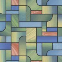 selvklæbende vinduesfolie i farvet felter, grønne,blå,gule,turkis og rød
