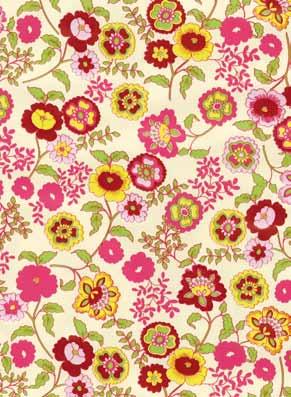 selvklæbende folie med blomster i røde og gule farver