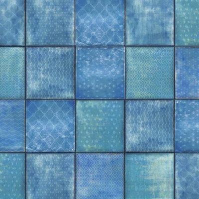 selvklæbende lakfolie i kakkelmønster i blå og grønlige nuancer