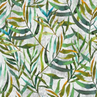 selvklæbende folie med mønster af mange blade i forskellige grønne farver